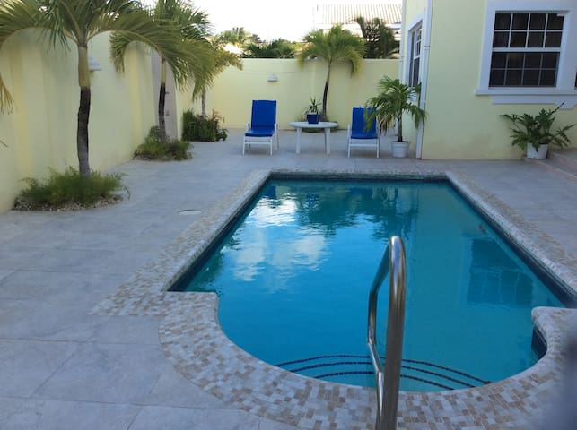 A view of the pool from the apartment