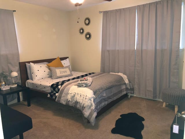Stylish room with queen bed and private bathroom
