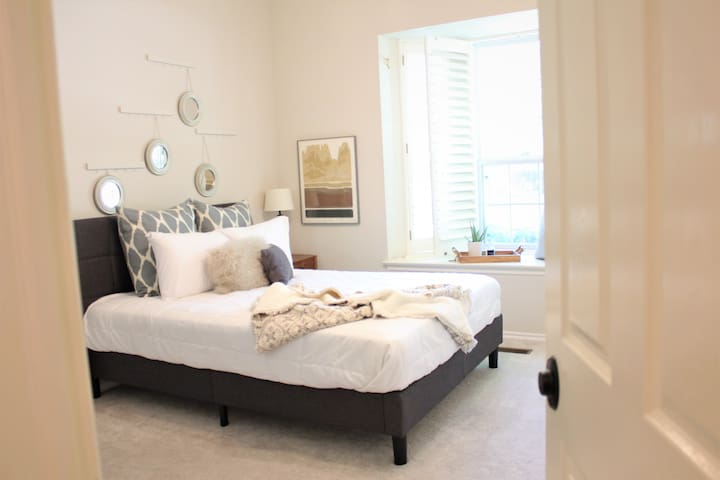 New Queen Bed and Linens