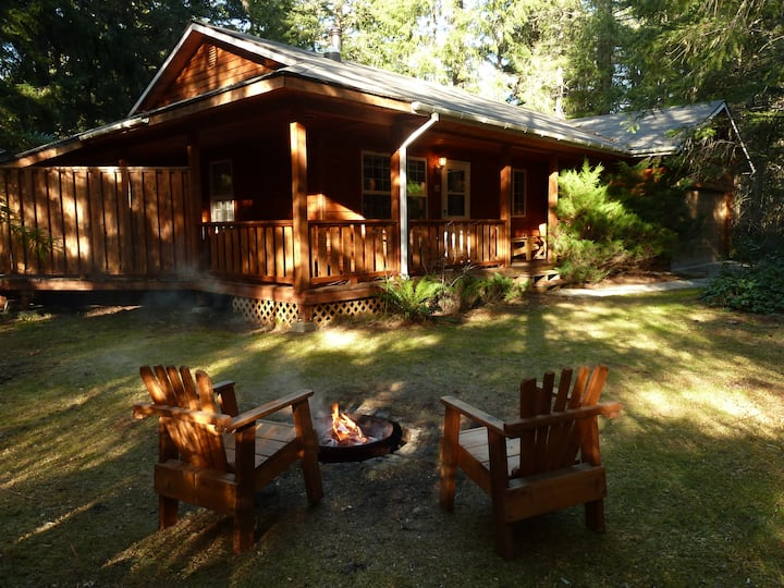 FireplaceLodging@Mt Rainier Cedarwood Cabin HotTub