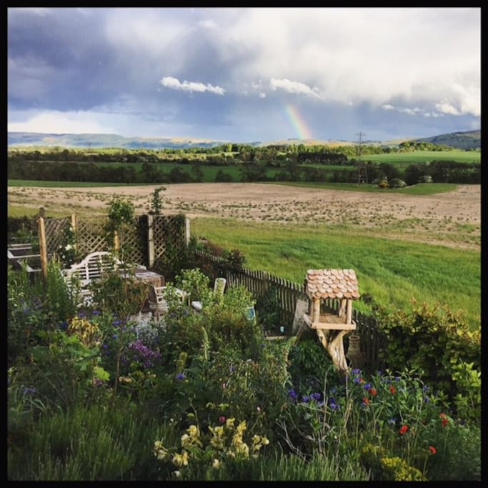 View from the Oak room, the rainbow, the Winddown area and the bird's Airbnb