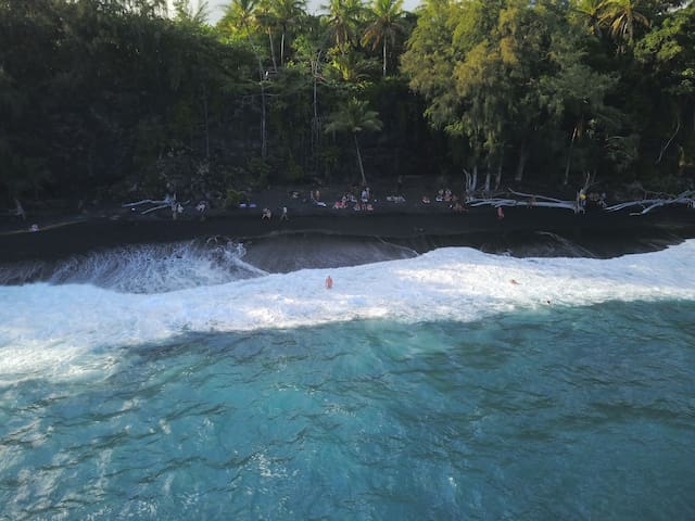 Kehena Beach is 1 of 5 black sand beaches near Pahoa.  Across the street from Dolphin Cottage.