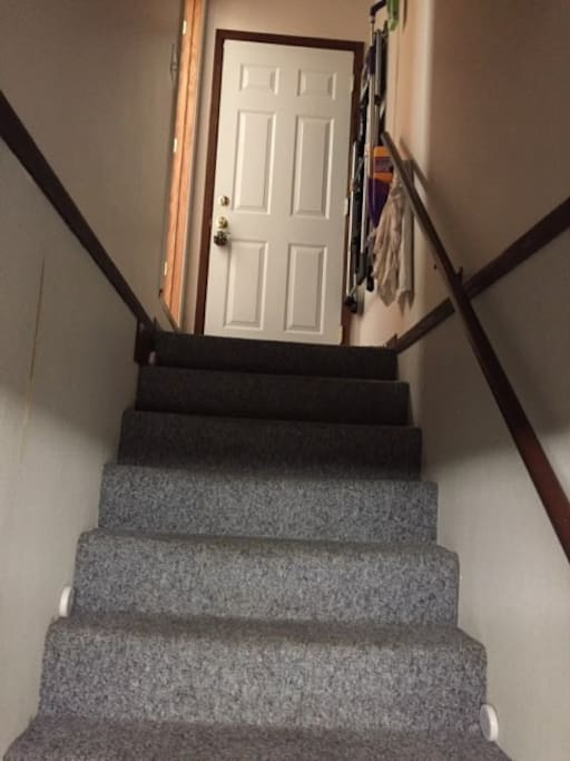 carpeted stairway leading to your private level