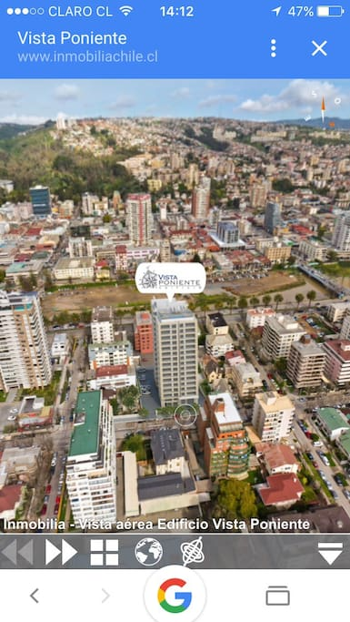 Vista panorámica ubicación edificio Vista Poniente.