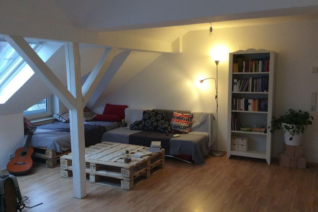 offene dachgeschoss wohnung gr umig und zentral. Black Bedroom Furniture Sets. Home Design Ideas
