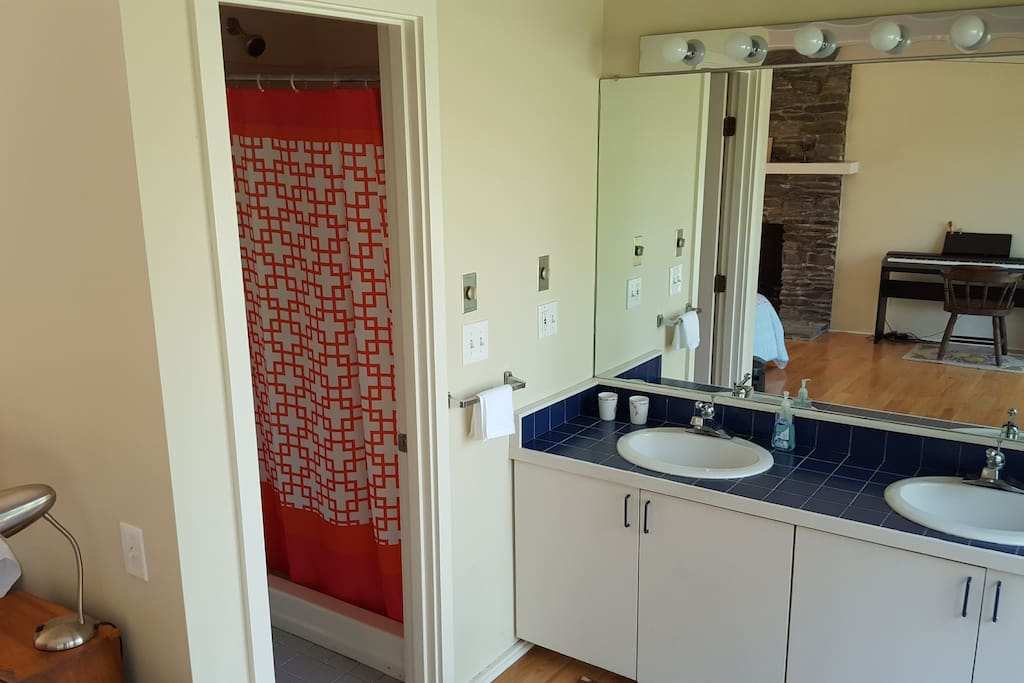 Private bathroom and shower.