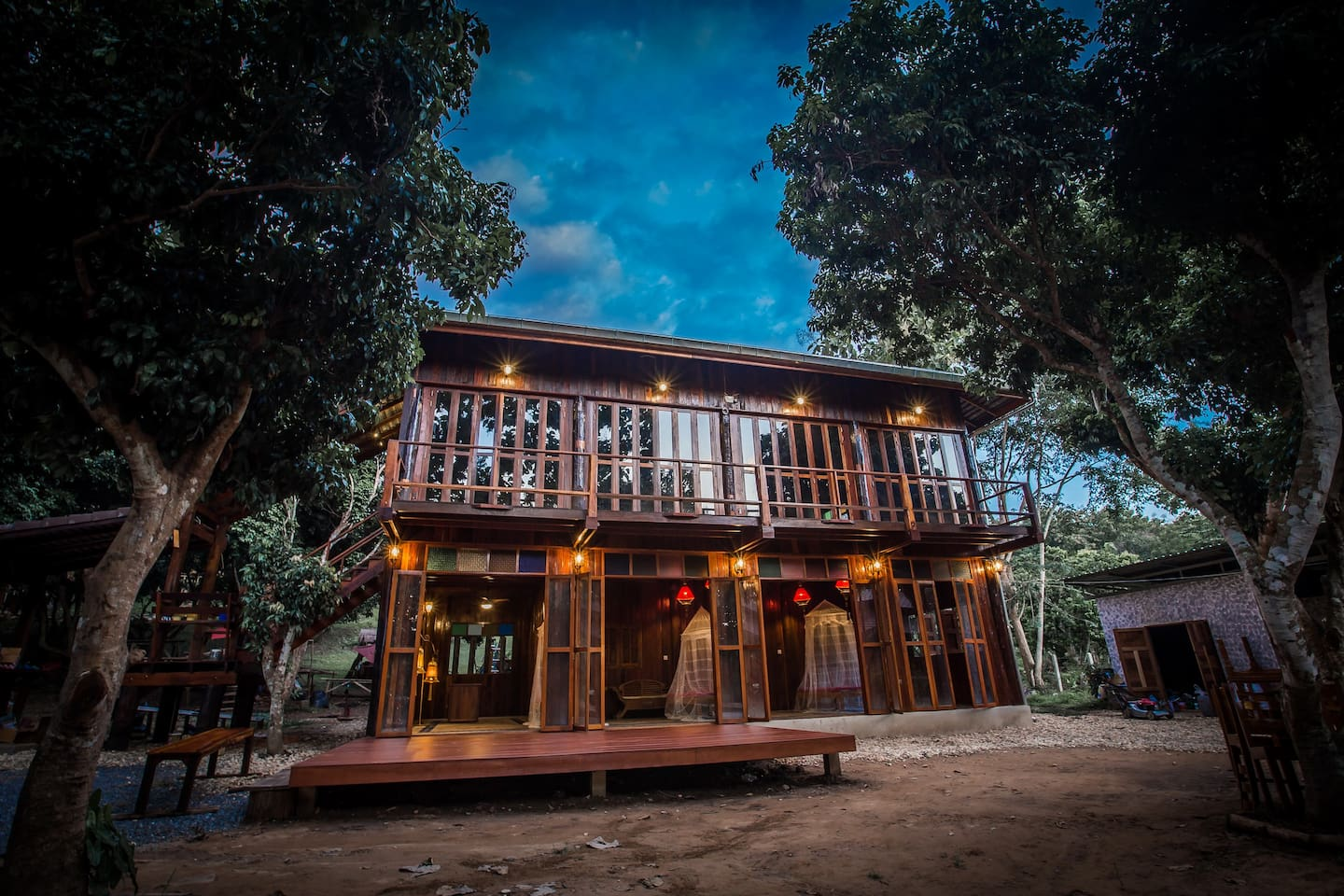 The 2 story recycled teak house.