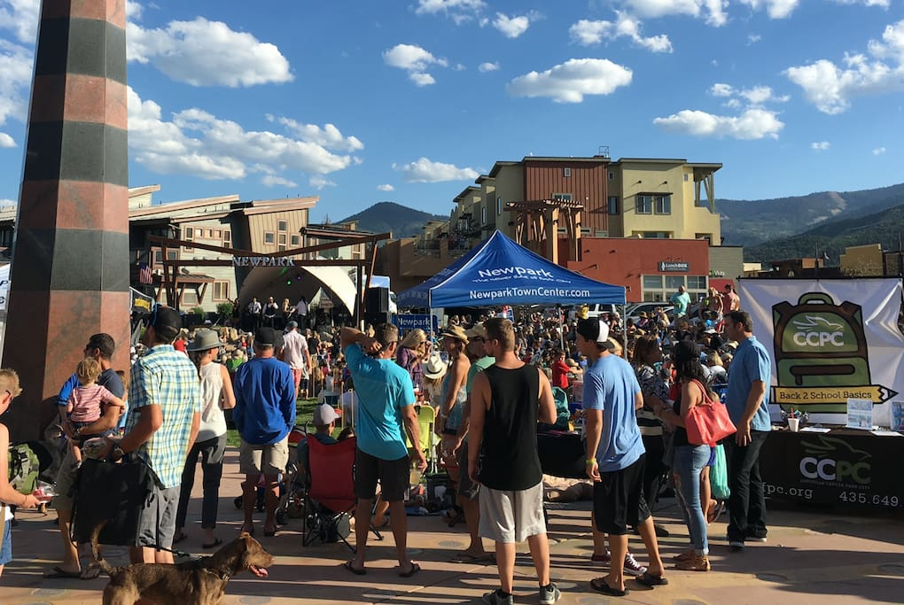 Free Thursday night concerts at NewPark. Condo units are right above blue pop-up.  July 2016