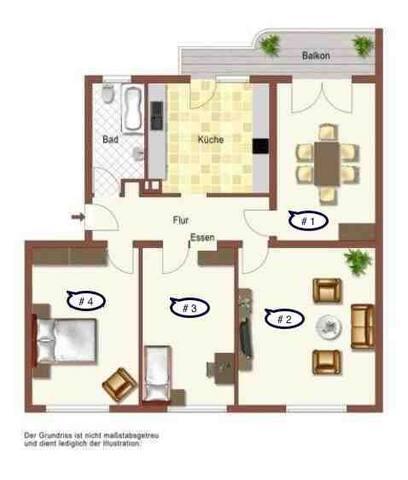 Grundriss der Wohnung. Du buchst jeweils eines der Zimmer. Einrichtung ist abweichend vom Grundriss. Siehe Bilder!