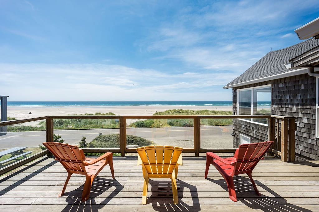 Catch all the beach action from the deck just off the dining room