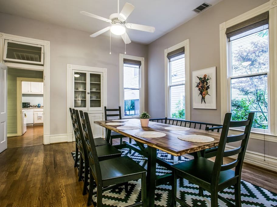 Host a dinner for friends at our well appointed table that fits 8 comfortably