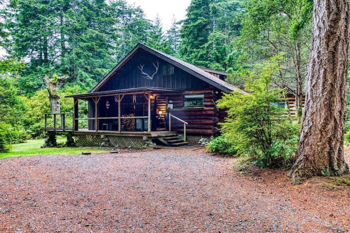 Dog-friendly log cabin w/ a full kitchen & deck in a serene forest setting
