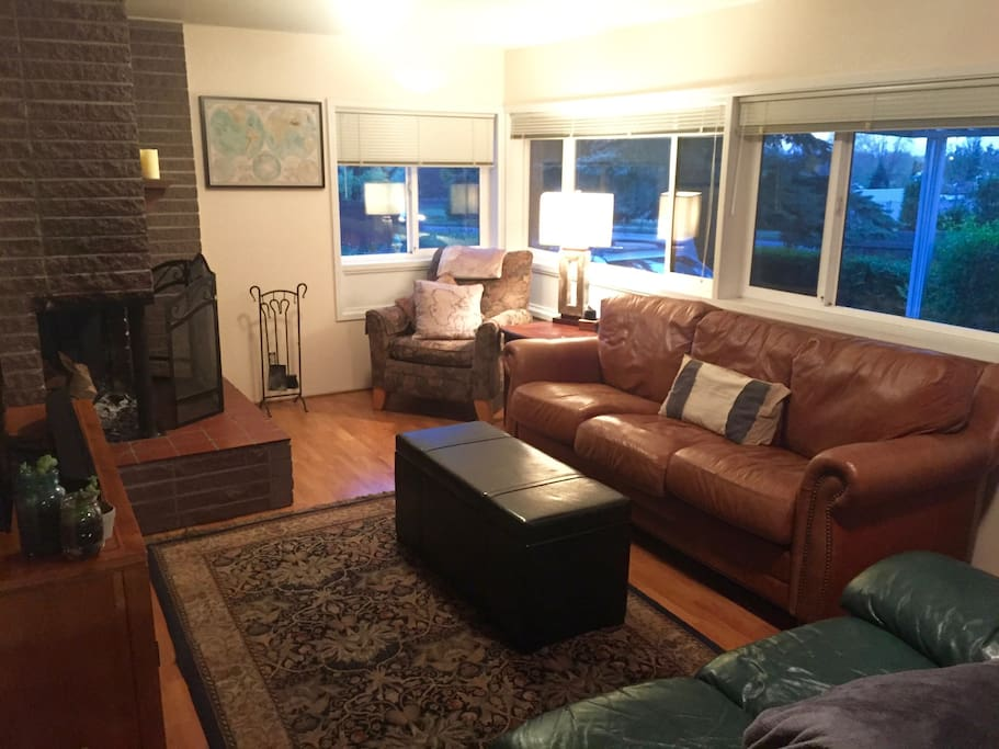 The cozy living room is a great place to unwind and watch a movie or play N64 after a long day at the Trials.