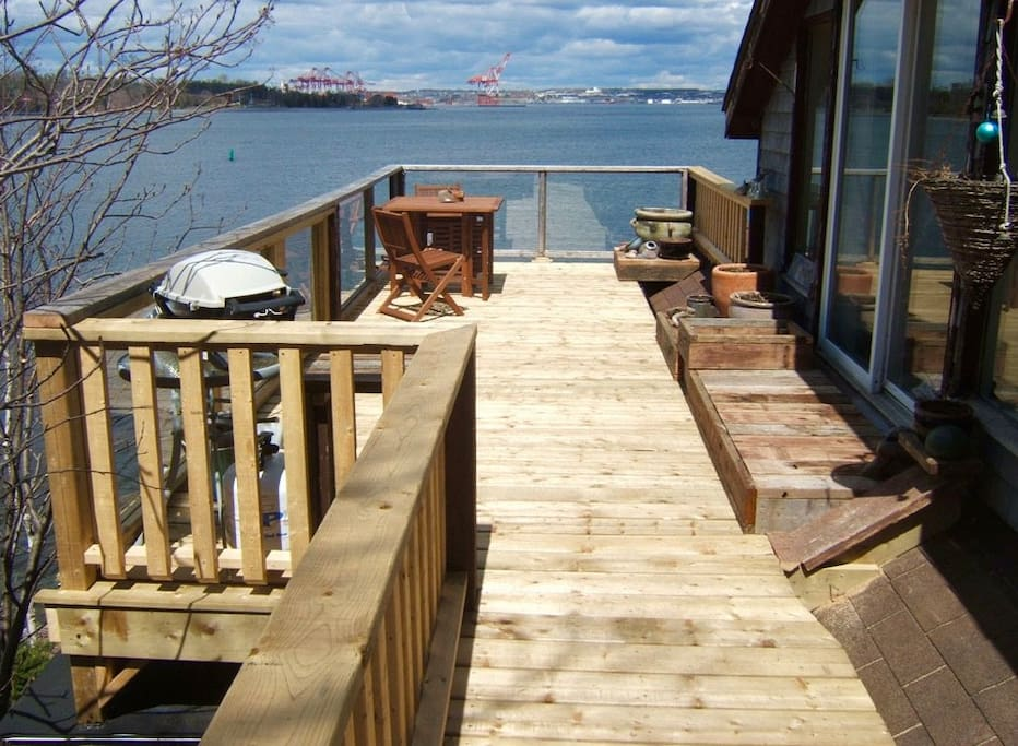 Walk the boardwalk to this 'tree house' nestled high above Halifax Harbour.