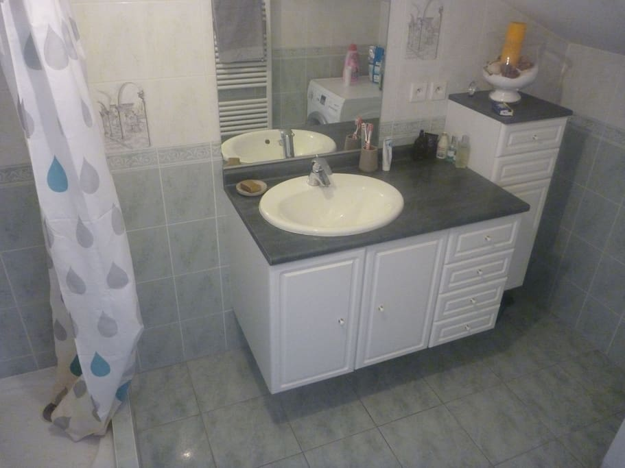 Private bathroom with shower, toilet, and washing machine