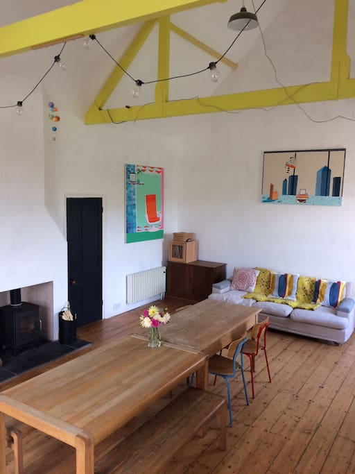 Lounge & yellow beams & woodburner