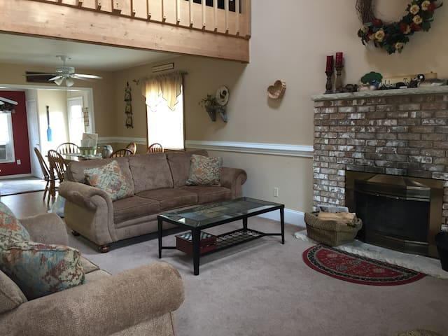 Enjoy family and friends time by the fireplace