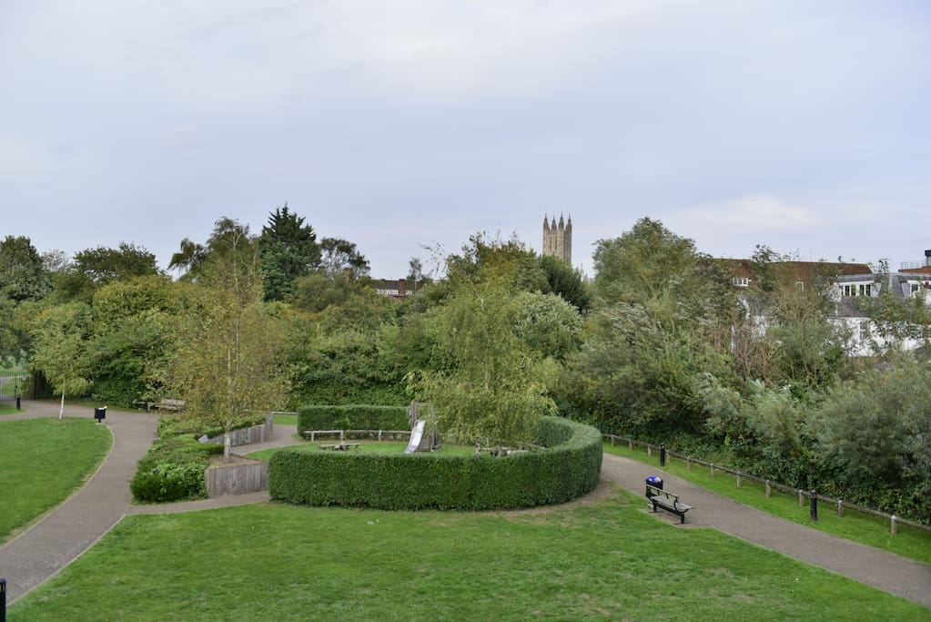 view to Bell Harry Tower over private park