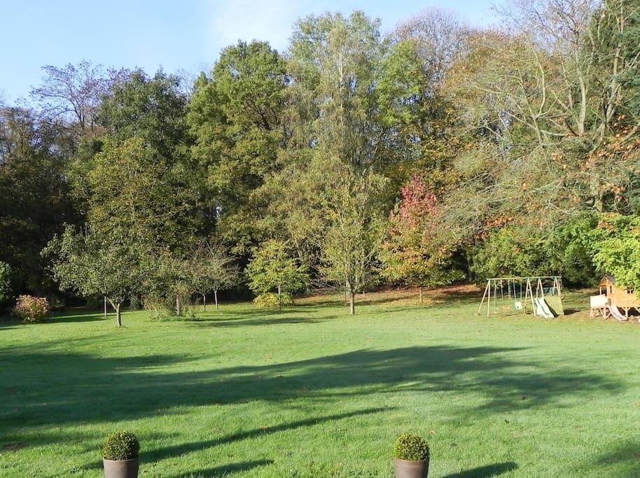 Le jardin et le début de la forêt vus de la terrasse.