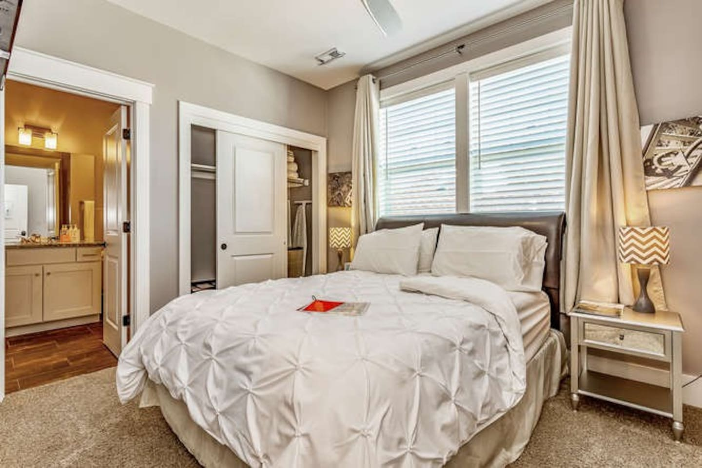 Private bedroom includes super comfy queen bed, blinds & blackout curtains for a great nights sleep.