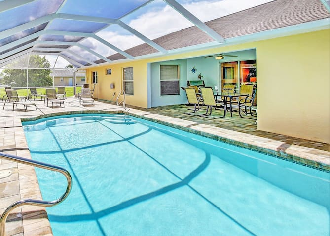 Gulf access home with spacious pool area!