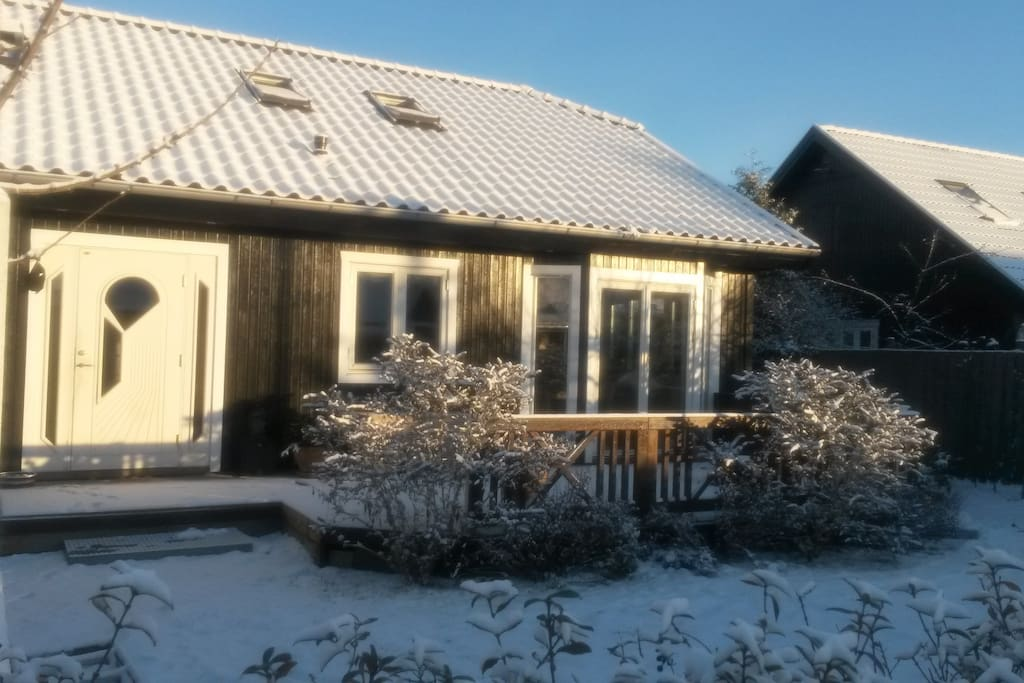 Our house with snow in the winther