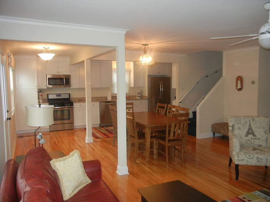 Spacious, open floor plan. Kitchen and Dining Room open to living room with fireplace and TV.