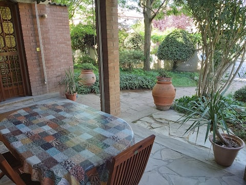 Rustic-chic room with private veranda and bathroom
