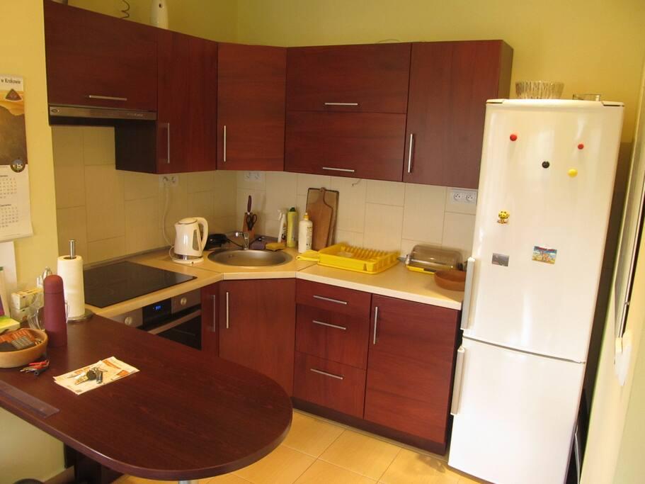 W pełni wyposażona kuchnia z lodówką, kuchenką elektryczną, piekarnikiem / kuchenką mikrofalową
