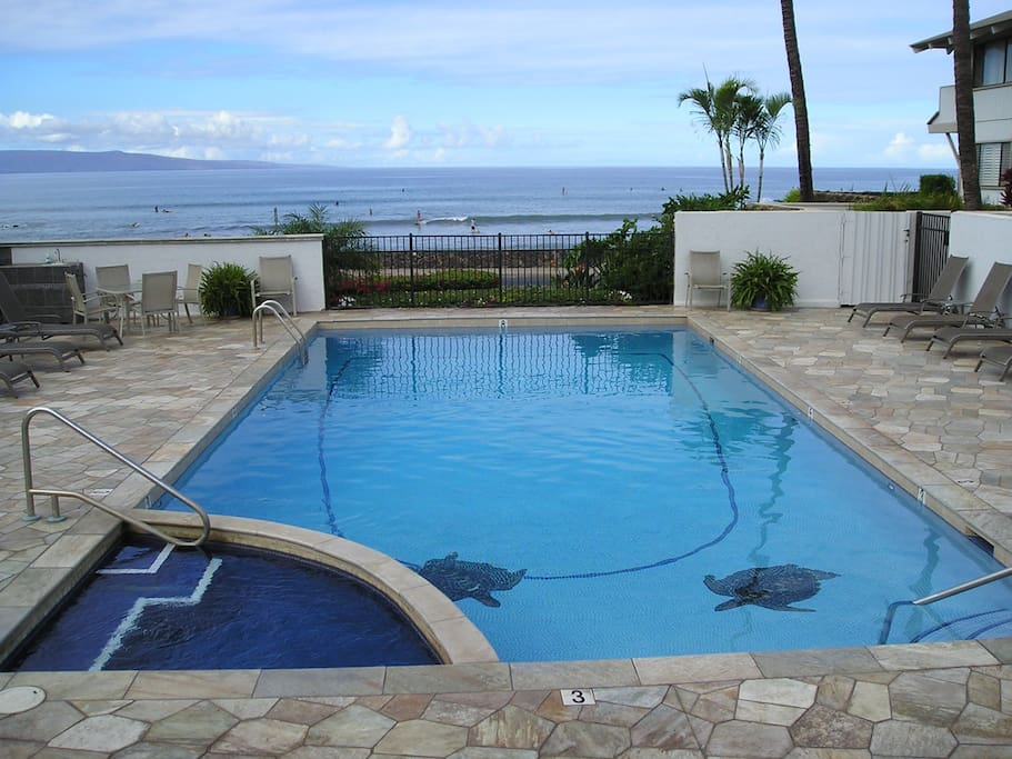 Solar heated pool with ocean views of 3 of the HI Islands