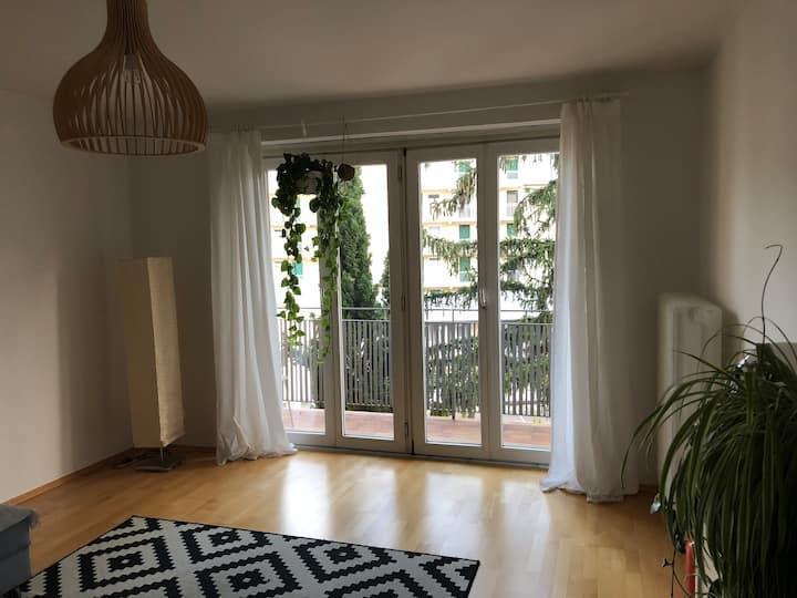 Central, sunny room with own balcony