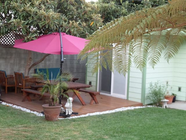 The newly installed picnic bench and umbrella