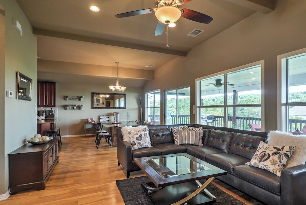 Enjoy lake views from this open and spacious living area!
