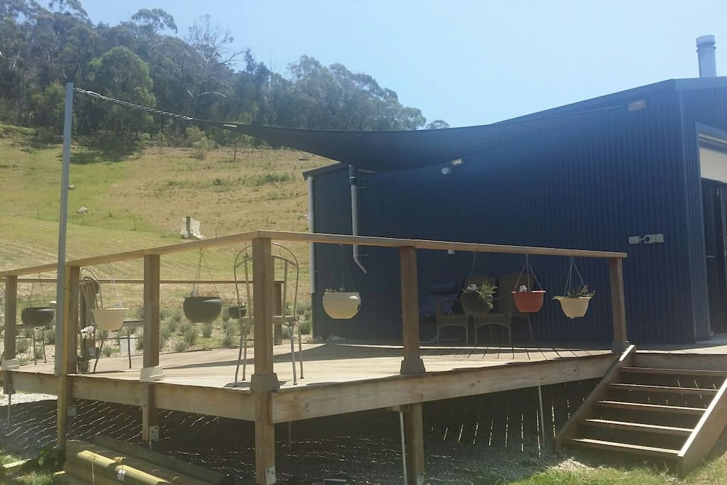 Entertainment deck with partial  Sun Shade