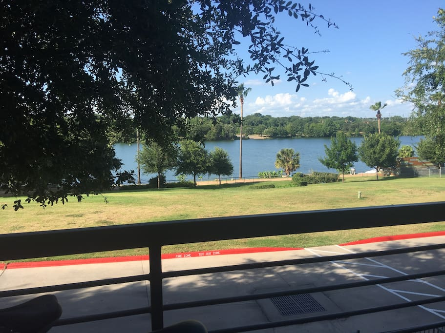 River view from patio. Two chairs for you to enjoy the view, and easy access to the Hike and Bike trail.