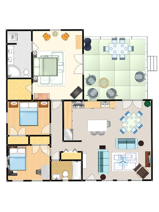 Floorplan. Front door is center bottom.