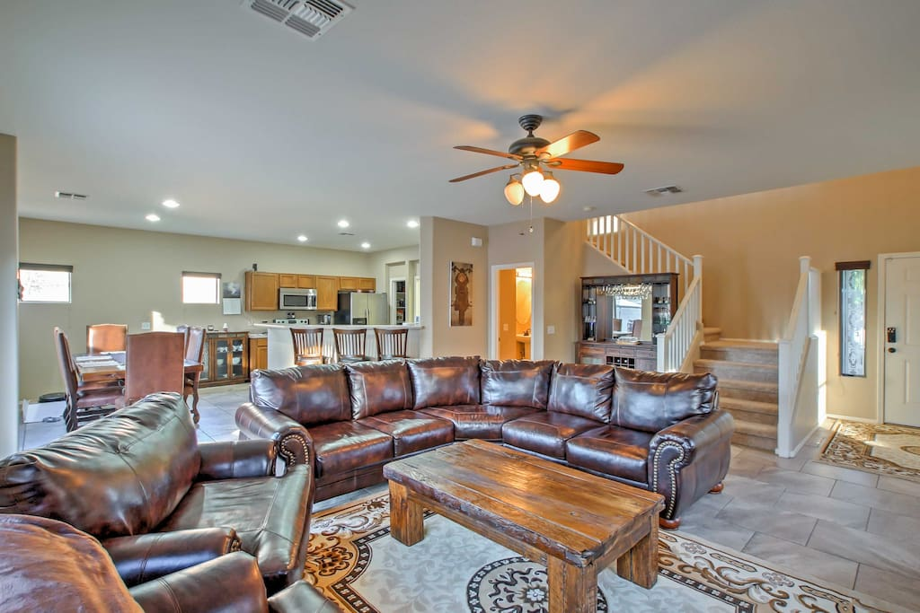 Step inside and relax on the sectional leather couch.