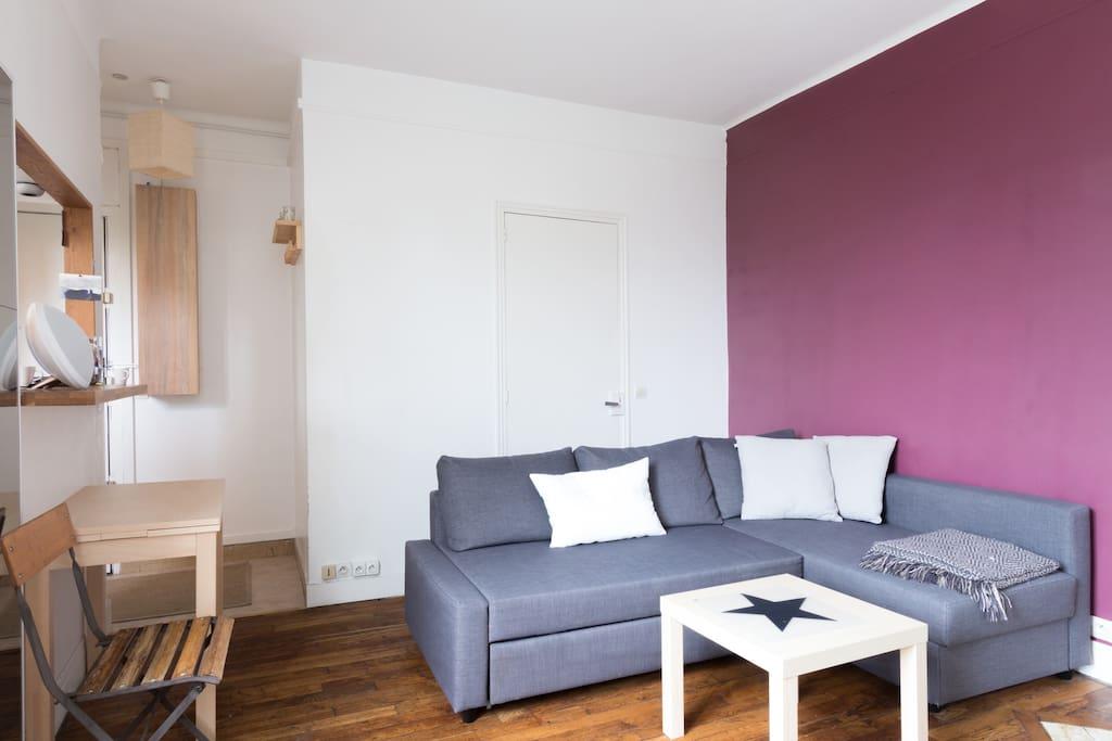 Salon très lumineux disposant d'un canapé lit avec couchage en 160 cm.
