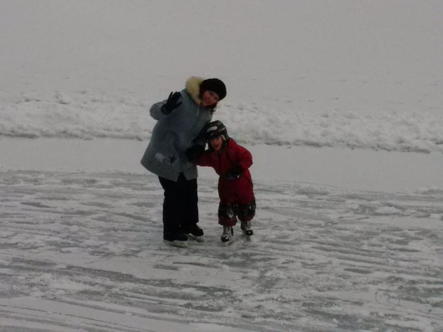 Mom and son learning to skate