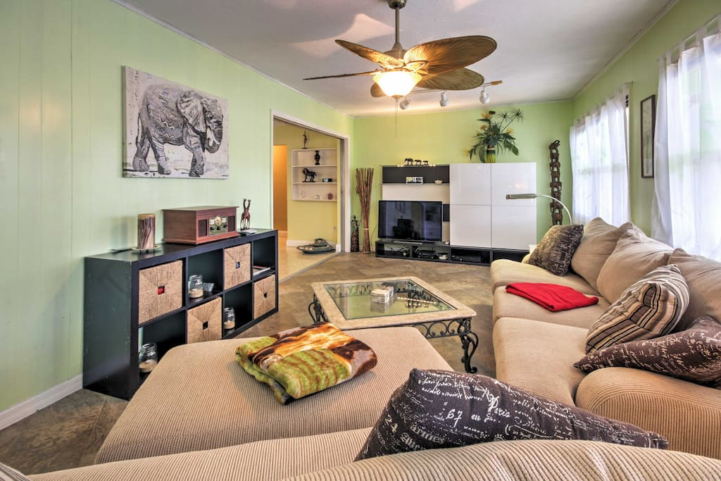 Relax in the spacious living area while watching your favorite shows.