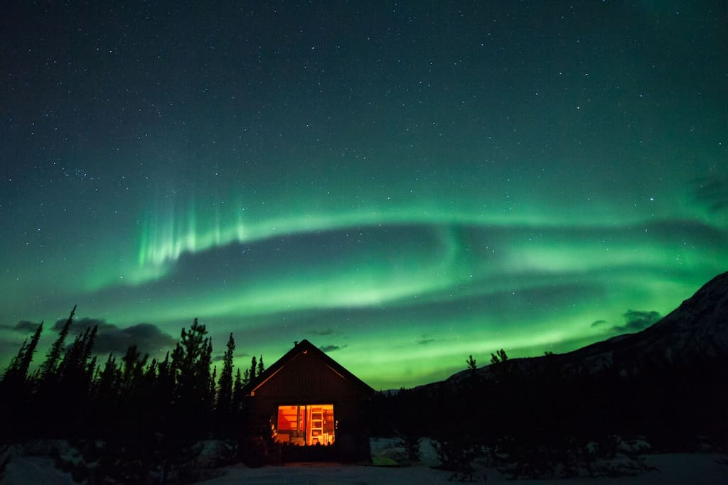Aurora viewing at its best. As the cabin is located north of Whitehorse there is no light polution in the northern sky.  This is our friends cabin not far away, but the aurora above is the same as at our location :-)