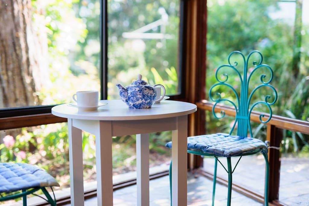 Enjoy a cup of tea or breakfast overlooking the garden