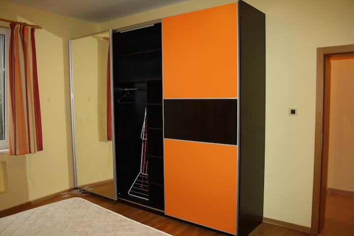 the wardrobe in the bedroom with a big mirror