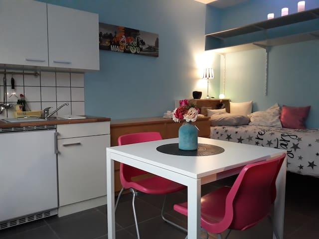 Petit Studio Cosy avec bureau et cuisine.