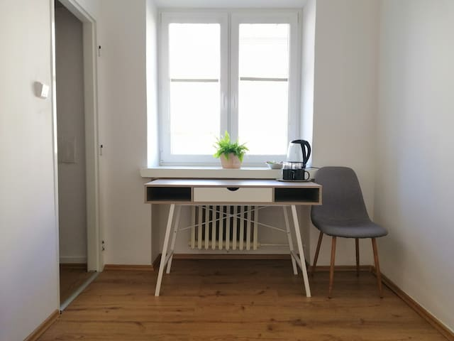 table (working place) + wardrobe entrance