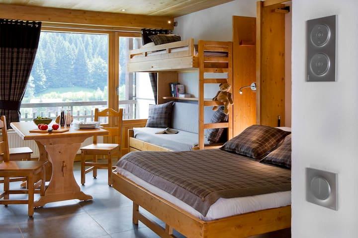 Studio 4pers avec accès sauna, jacuzzi gratuit
