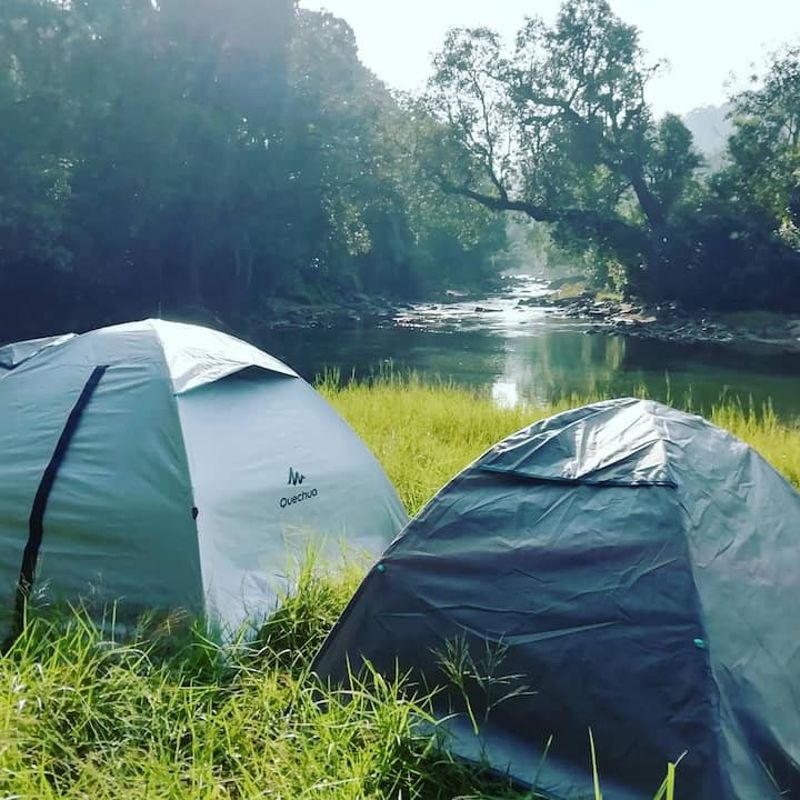 Coorg River Rock Camping.Riverside view.starry nyt