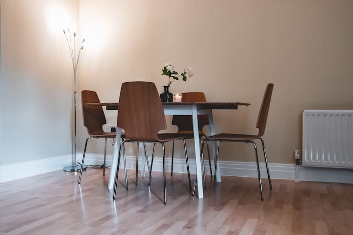 Dining table in the living room.