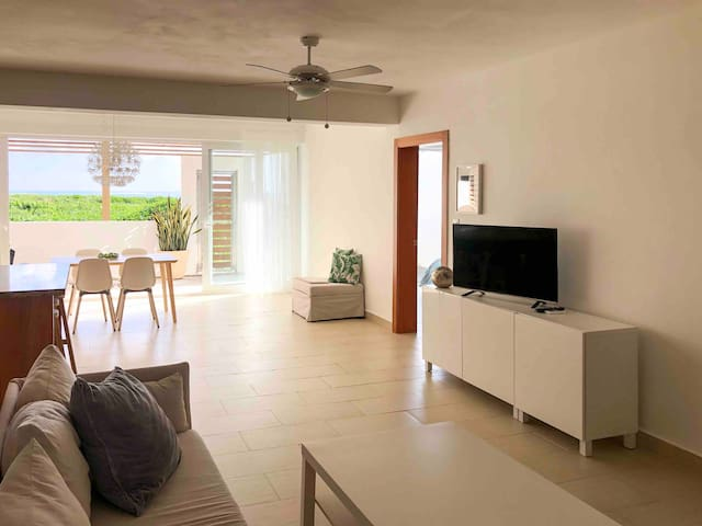 Brighten living room with smart TV ( Netflix, youtube and many more applications), AC will cool you after sunny day, and you can enjoy day or evening by your favorite series.