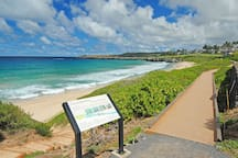 Kapalua Coastal Trail is 5 minute walk from front door and winds along Oneloa Bay and the coastline